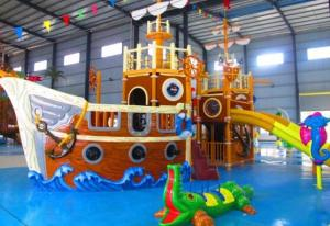 China Water Park Play Equipment / Outdoor Amusement Park Pirate Small Water Slide on sale