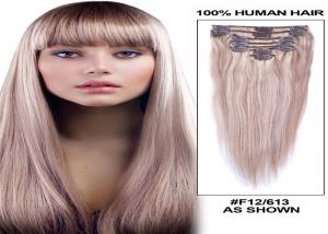 China Straight Human Hair Clip On Hair Extensions Tangle Free 120g 8 Pieces / Bundle on sale