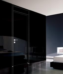 China Aluminum Frame glossy black front door,black lacquer door for bedroom on sale