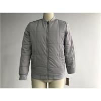 Grey Quilted Mens Polyester Bomber Jacket With Rib Detail Plastic Zip Through Tw77570