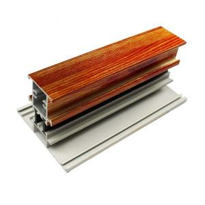 China T Shape Wood Finish Aluminium Profiles Length Customized For Glass Doors on sale