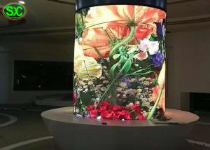 China P4 indoor fixed full color column led display , round digital clear led display on sale
