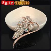 Golden Crystal Leaf Brooch,Wedding Brooch, Badge Corsage Wedding Bridal Bouquet Brooch