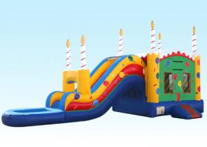 China Birthday Cake Water Inflatable Bouncer Combo With Logo Printing on sale