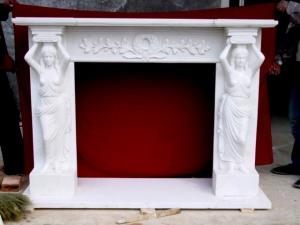China The stone material stone lady fireplace statue with marble fireplace mantle on sale