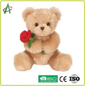 China 9.45 Inches Plush Teddy Bear holding rose with soft tan fur CE certificate on sale