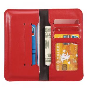 China Press Print Universal Cell Phone Leather Wallet Case Beyond 4.7 Inch Five ID Card Slot on sale