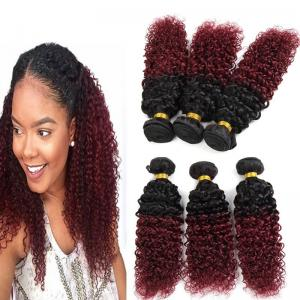 China 1B / 99J Grade 8a Hair Extensions , Ombre Brazilian Kinky Curly Human Hair on sale
