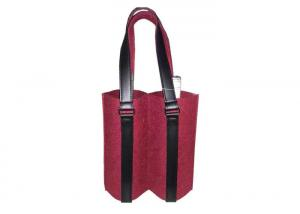China 11.8x3.14x9.8'' Colorful Felt Wine Packaging Bag Reusable for Two Bottles on sale