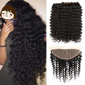 China 100% Virgin Malaysian Deep Curly Hair Extensions Natural Color No Chemical on sale