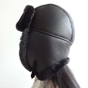 China Lamb Fur Leather Shearling Trapper Hat 5 Panel Australian Sheepskin For Men / Women on sale