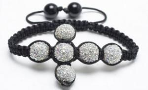 China Custom Shamballa Cross Beaded Woven Cuff Bracelet with Clear AB Crystal Pave Alloy Beads on sale