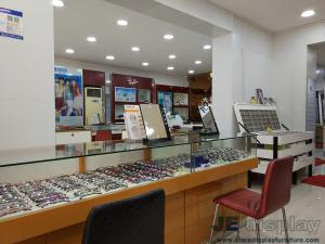 China Wood display cabinet in wall and Storage glass showcase counters for sunglasses wholesale shop interior furniture on sale