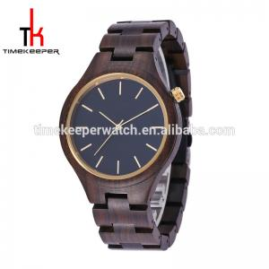 China Black sandal quartz movement wood watch cheap price good quality timekeeper men wood watch on sale