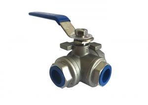 China CF8M Stainless Steel Ball Valve Reduced Bore 3 Way 1000 PSI With Thread Connection on sale