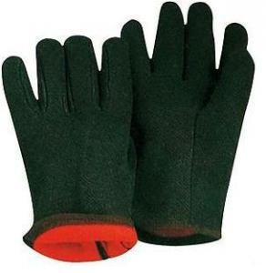 China 10 inch Insulated protective Brown Cotton Gloves / Glove 41007 With Red Fleece Lining on sale
