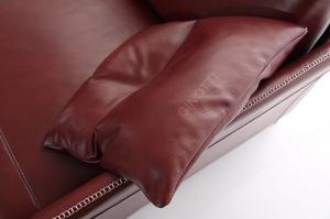 Quality Red Luxury Leather Sofas With Adjustable Headrest Leather Sofa , Leather Sofa for sale