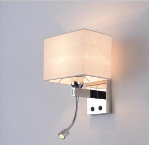 China The head of a bed wall lamp with a little Led reading lamp suit for Hotel or home bedroom on sale