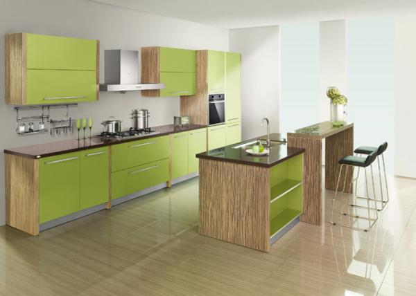 Apple Green Wood Grain Uv Kitchen Cabinet With Coffee Solid Surface