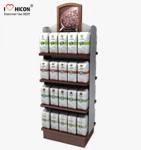 China Food Shop 4-Layer Wood Flooring Display Rack , Coffee Bag And Nuts Display Units on sale