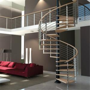 China Luxury Wood Tread Stainless Steel Railing Indoor Use Spiral Staircase on sale