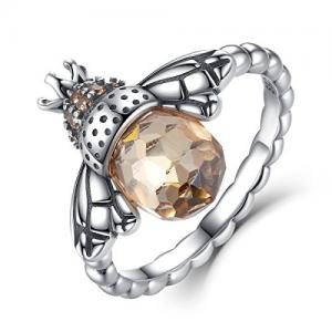 China Ladies 925 Sterling Silver Rings With Cute Animal Shaped Cubic Zirconia Stone supplier
