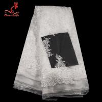 China 3D Floral Stretch Wedding Bridal Embroidered Tulle Lace Fabric By The Yard on sale