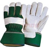 Industrial working natural Cotton Back Cow Leather Gloves 12008  with rubber cuff