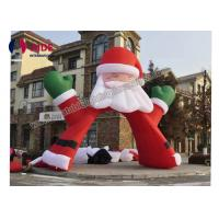 Red Santa Claus Inflatable Holiday Decor , Advertising Inflatable Arch Way 6m Size