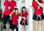 Casual Cotton Kids T Shirts Pants , Summer Matching Family Shirts With Skirt Set