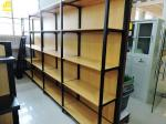 Four Columns Metal And Wood Open Shelving , 50kg/ Layer Iron And Wood Shelving Unit