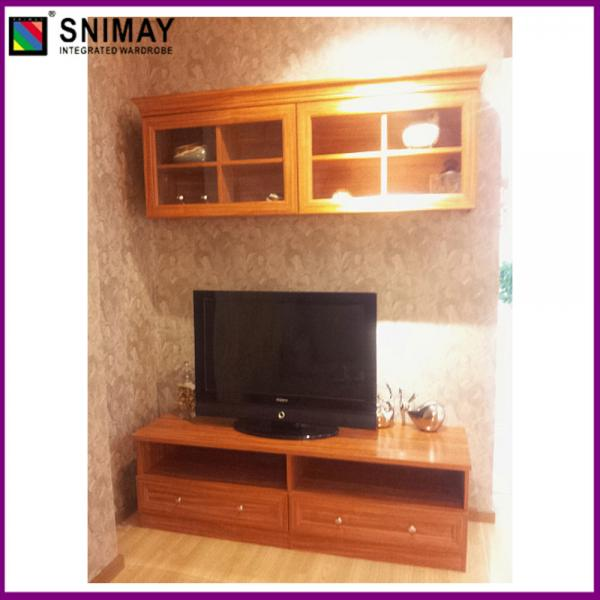 Wooden Corner Tv Cabinet With Doors , Modern Mahogany Tv Stand Images