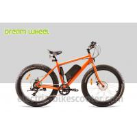 48 Volt 4 Inch Electric Beach Bike Fat Tire Snow Bicycle Orange With Front Motor