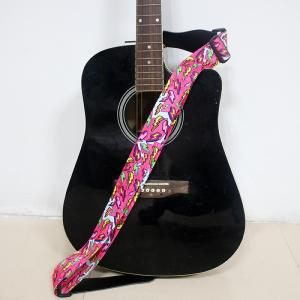 China Decorative Woven Personalized Guitar Straps With Leather Head on sale
