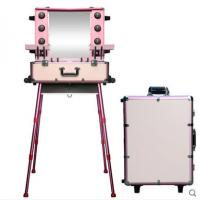 China Professional Pink Aluminum Makeup Case With Lights,Easy Carrying Aluminum Lights Case With Mirror KL-MCL007 on sale