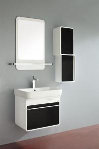 China 15mm high grade PVC colored bathroom vanity , Ceramic basin bathroom wall vanity on sale