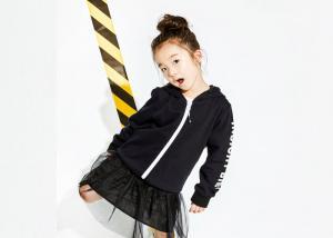 China Trendy 100% Cotton Girls Fleece Hoodie , Casual Kids Cardigan Sweater on sale
