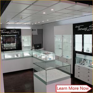 China Mdf baking painting counter cabinet design jewellery shop displays for jewellery shop on sale