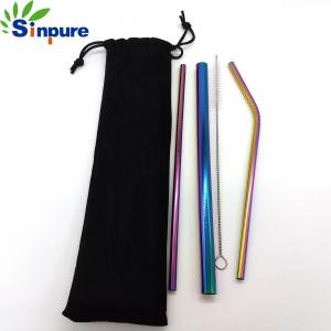 China Different Color Stainless Steel Collapsible Straw Eco - Friendly With Custom Painting on sale