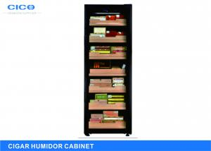 China Black Freestanding Antique Cigar Cabinet Wooden Shelves Eco - Friendly on sale