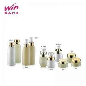 China White Opal Gold Glass Cosmetic Pump Bottle 30ml 50ml 120ml 150ml For Perfume on sale