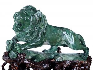China Natural Africa Green Stone Carved Animal Stone Statue, Lion Carving (AG57) on sale