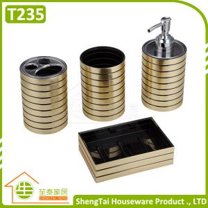China Hotel Metal Bathroom Accessory Set With Dispenser Tumbler Toothbrush Holder Soap Dish on sale
