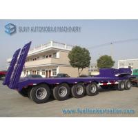 60 T Heavy Lowbed Flatbed Semi Trailer , 4 Axles Flatbed Car Trailer
