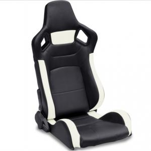 Quality PVC Adjustable White And Black Racing Seats / Sports Car Seat with single slider for sale