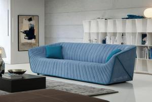 Quality Classic Blue Living Room Couches Modern Italian , Blue sofa fabric sofa design for sale