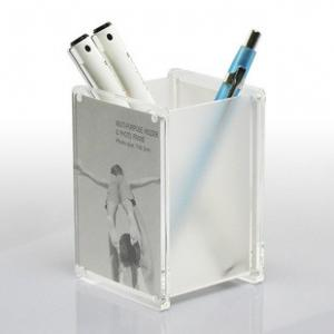 China White Eco - Friendly Weatherability Chemical Resistance Luster Acrylic Pen Holder For Students on sale