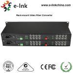 "China 19"" 1U Rackmount CCTV Fiber Optic Media Converter 2Channel Forward Audio RJ45 Connector wholesale"