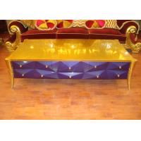 Golden Purple Hotel Lobby Furniture Wood Tea Table Customized