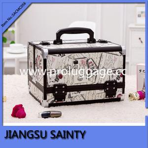 China New style antique printing PVC material aluminum beauty case with drawers on sale